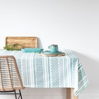 Coated cotton tablecloth with graphic print 130x210cm
