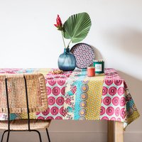 Cotton Tablecloth with Graphic Print 150x250