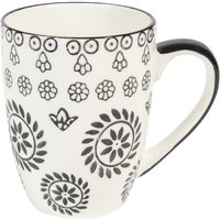 earthenware mug in black & white