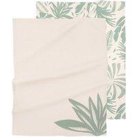 Ecru and green printed organic cotton tea towels (x2)