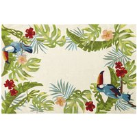 Ecru Outdoor Rug with Tropical Print 160x230
