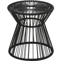 Garden side table in black resin and black metal