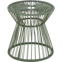 Garden side table in khaki resin and black metal