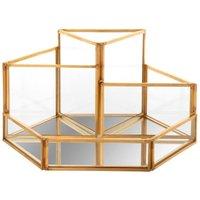 Geometric Gold Metal and Glass Desk Organiser