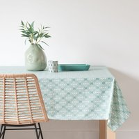 Green Wipe-Clean Patterned Cotton Tablecloth 140 x 250