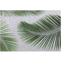 Grey Outdoor Rug with Palm Leaf Print 155x230