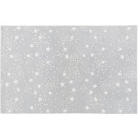 Grey Wool Rug with Star Print 120x180