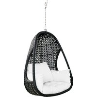 Hanging garden armchair in black resin wicker with white cushions