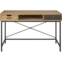 Industrial desk in solid pine and black metal with 2 drawers