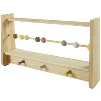 Multicoloured Paulownia 3-Hook Abacus Coat Rack
