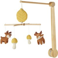 Musical mobile for babies with reindeer and mushrooms in multicoloured knitted cotton