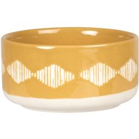 Mustard yellow porcelain pet bowl with white graphic print