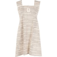 Organic cotton apron in flecked beige and charcoal grey