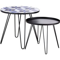 Patterned Tile and Black Metal Garden Coffee Tables (x2)