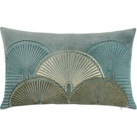 Printed Blue and Gold Velvet Cushion Cover 30x50