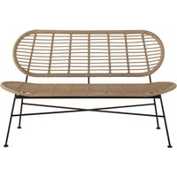 Professional quality garden bench in resin faux rattan and black metal
