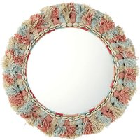 Round Mirror with Multicoloured Tassels and Shells D48