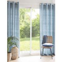 Single Blue Cotton Eyelet Curtain 140x250