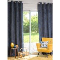 Single Blue Eyelet Curtain 140x250
