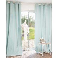 Single Pastel Blue Cotton Eyelet Curtain 140x250