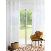 Single White Eyelet Curtain with Graphic Print 140x250