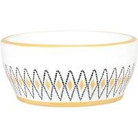 White and yellow porcelain pet bowl with black diamond print