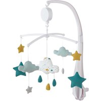 White, Blue and Mustard Cotton Musical Mobile for Babies