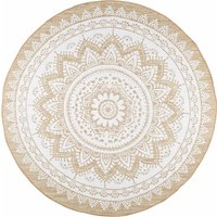 White Cotton and Jute Round Rug D180