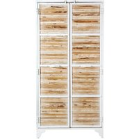 White Metal and Recycled Wood Wardrobe