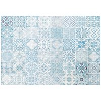 White Outdoor Rug with Blue Cement Tile Print 155x230