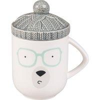 White Stoneware Bear Mug with Lid