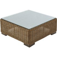 Wicker and tempered glass garden coffee table W 77cm