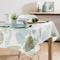 Wipe-clean Ecru Cotton Tablecloth with Foliage Print 140 x 250