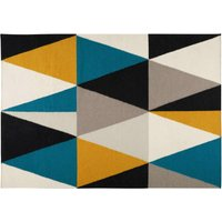 wool rug with graphic motifs 160 x 230 cm