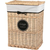 Woven Laundry Basket with Black Ribbon H58