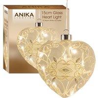 13cm Glass Heart 10 LED Light