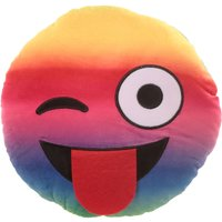 Plush Rainbow Emoji Wink Cushion