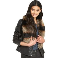 V By Very Tonal Patchwork Fur Collar
