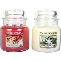 Yankee Candle Set of 2 Medium Jars - Sparkling Cinnamon Sparkling Snow