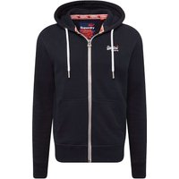 Superdry Homme Sweat à capuche zippé orange, Bleu