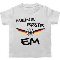 SHIRTRACER Fußball-Europameisterschaft 2021 - Baby - Meine erste EM Deutschland - Baby T-Shirt kurzarm T-Shirts T-Shirts für Kinder weiß Gr. 68