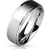 BUNGSA® Ring gebürstetes Mittelteil Silber aus Edelstahl Damen Ringe silber Damen Gr. 52