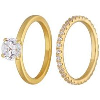 Ring Set 925 Sterling Silber vergoldet Zirkonia