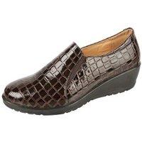 TOPWAY Comfort Keil-Slipper braun kroko