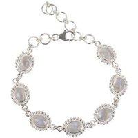 Armband 925 Silber, Regenbogen-Mondstein