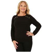 Cashmerelike Damen-Pullover Zierknöpfe schwarz