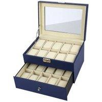 Uhrenbox für 20 Uhren aus dunkelblauem PU Leder