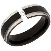 Ring Titan mit Zirkonia, schwarz plattiert