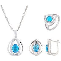3er Set Collier+Ohrstecker+Ring blau
