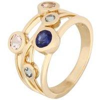Ring 585 Gelbgold Saphir Morganit Aquamarin
